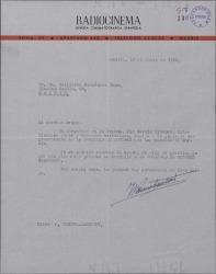 Carta de Joaquín Romero Marchent a Guillermo Fernández-Shaw, recomendando a Pio García Viñolas para una plaza en la Sociedad de Autores.