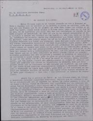 Carta de Javier Regás a Guillermo Fernández-Shaw, pidiéndole que apoye la solicitud de una compañía teatral francesa a la Sociedad de Autores sobre un tema económico.