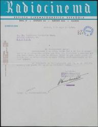 Carta de Joaquín Romero Marchent a Guillermo Fernández-Shaw, sobre el cobro de una colaboración de éste en una revista.