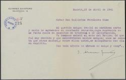 Carta de Joaquín Álvarez Quintero a Guillermo Fernández-Shaw, agradeciéndole su carta y el recuerdo para su hermano.