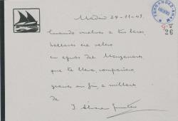 Tarjeta de Joaquín Álvarez Quintero dando las gracias en verso a Guillermo Fernández-Shaw.