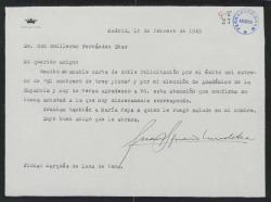 Carta de Juan Ignacio Luca de Tena a Guillermo Fernández-Shaw, agradeciéndole su doble felicitación, por el éxito de un estreno teatral y por la elección de Académico de la Española.