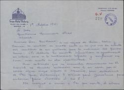 Carta de José López Silva a Guillermo Fernández-Shaw, agradeciéndole sus gestiones para conseguirle una audiencia con el Caudillo aunque hayan resultado infructuosas.