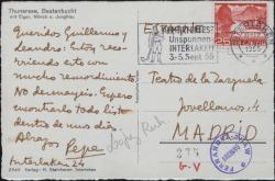 Tarjeta postal de José López Rubio a Guillermo Fernández-Shaw, saludándole durante un viaje.