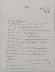 Carta de José López Rubio a Guillermo Fernández-Shaw, agradeciendo su felicitación y hablando sobre los arreglos del Teatro de la Zarzuela.