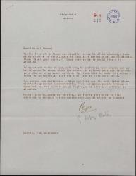 Carta de José López Rubio a Guillermo Fernández-Shaw, acusando recibo de su carta y agradeciendo el envío de unos versos.