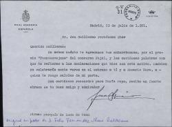 """Carta de Juan Ignacio Luca de Tena a Guillermo Fernández-Shaw, agradeciéndole su enhorabuena por haberle sido concedido el premio """"Fuenteovejuna""""."""