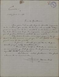 Carta de Ramón Asensio Más a Guillermo Fernández-Shaw, preocupado, pidiéndole noticias de la enfermedad de Carlos Fernández Shaw.