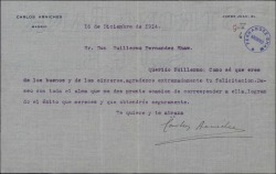 Carta de Carlos Arniches a Guillermo Fernández-Shaw, agradeciéndole su felicitación y deseándole éxito.