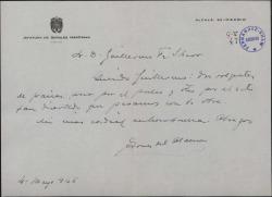 Carta de Ángel Torres del Álamo a Guillermo Fernández-Shaw, dándole las gracias por el palco que les ofreció y por el buen rato que pasaron con la obra.