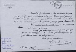 Carta de Carlos Arniches a Guillermo Fernández-Shaw, augurándole un porvenir glorioso.