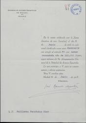 Oficio firmado por José Ramos Martín como secretario de la Sociedad de Autores Dramáticos, comunicando a Guillermo Fernández-Shaw que ha sido clasificado como socio numerario.