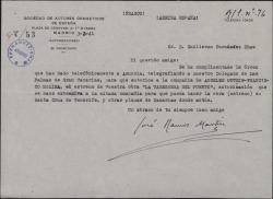 Carta de José Ramos Martín a Guillermo Fernández-Shaw, comunicándole que la Sociedad de Autores Dramáticos ha concedido la autorización pedida por él para la representación de una de sus obras en Canarias.
