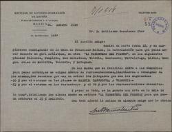 Carta de Antonio Ramos Martín a Guillermo Fernández-Shaw, comunicándole varios asuntos teatrales relacionados con él y con la Sociedad de Autores Dramáticos.