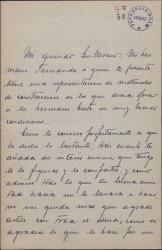 Carta de Jorge de la Cueva a Guillermo Fernández-Shaw, pidiéndole que se interese por un asunto a favor de su hermano Fernando.