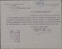 Carta de Rafael Sepúlveda a Guillermo Fernández-Shaw, comunicándole una autorización de la Sociedad de Autores Dramáticos con respecto a una de sus obras.
