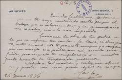 Tarjeta de Carlos Arniches a Guillermo Fernández-Shaw, pidiéndole una obra de su padre, para tratar de hacer un arreglo.