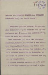 Carta de Rafael Sepúlveda y José Manzano a Guillermo Fernández-Shaw, Federico Romero y Jesús Guridi, adhiriéndose al homenaje ofrecido a éstos.