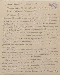 Carta de Francisco Ramos de Castro a Guillermo Fernández-Shaw, contento por saberle libre después de la guerra.