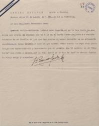 Carta de Francisco Ramos de Castro a Guillermo Fernández-Shaw, anulando cierta petición que le había hecho y comunicándole su próxima llegada a España.