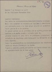 Carta de Francisco Ramos de Castro a Guillermo Fernández-Shaw, pidiéndole un dinero prestado para un asunto urgente.