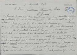 Carta de José Tellaeche a Guillermo Fernández-Shaw, sobre varios asuntos teatrales.