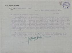 Carta de José Muñoz Román a Guillermo Fernández-Shaw, agradeciendo su felicitación y el soneto que le ha dedicado.