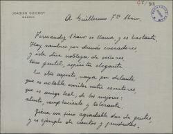 Carta de Joaquín Guichot a Guillermo Fernández-Shaw, con una poesía en su honor.