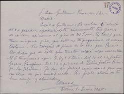 Carta de Marcos Redondo a Guillermo Fernández-Shaw, contestando a una suya y comentándole su calendario de trabajo.