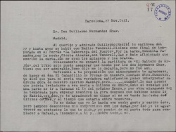 Carta de Marcos Redondo a Guillermo Fernández-Shaw, refiriéndose a varias obras de éste que está interpretando o va a interpretar próximamente.