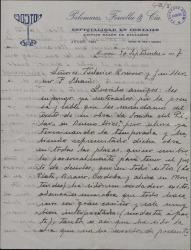 Carta de Juan de Casenave a Guillermo Fernández-Shaw y Federico Romero, contándoles el éxito obtenido por las obras de éstos en los teatros de América.