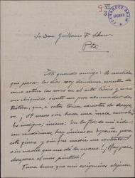 Carta de Víctor Redondo del Castillo a Guillermo Fernández-Shaw, quejándose de la mala situación del teatro lírico nacional y pidiéndole ayuda.