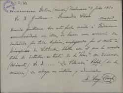 Carta de Emilio Sagi-Barba a Guillermo Fernández-Shaw, comunicándole su idea de hacer una gira teatral por toda España.