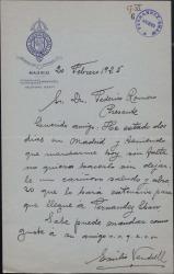 Carta de Emilio Vendrell a Federico Romero, dejándoles un saludo a su paso por Madrid.