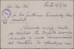 Tarjeta de Luis Sagi-Vela a Guillermo Fernández-Shaw, agradeciéndole su envío.