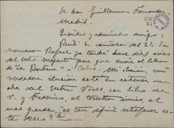 Carta de Marcos Redondo a Guillermo Fernández-Shaw, expresando su deseo de estrenar una obra suya y de Federico Romero con música de Amadeo Vives.