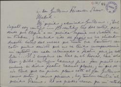 Carta de Marcos Redondo a Guillermo Fernández-Shaw, comunicándole sus planes profesionales.