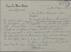 Carta de Marcos Redondo a Guillermo Fernández-Shaw, aceptando su felicitación y contándole sus próximos compromisos teatrales.