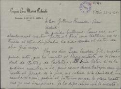 """Carta de Marcos Redondo a Guillermo Fernández-Shaw, hablándole del éxito de """"El Gaitero de Gijón"""" y pidiéndole para un amigo una plaza que se ha quedado vacante en la Sociedad de Autores."""