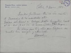 Carta de Marcos Redondo a Guillermo Fernández-Shaw, contándole sus fechas de representaciones y enviándole un recorte de prensa.