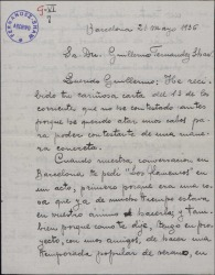 """Carta de Emilio Vendrell a Guillermo Fernández-Shaw, pidiéndole su obra """"Los flamencos"""" para representarla."""