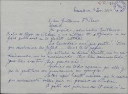 """Carta de Marcos Redondo a Guillermo Fernández-Shaw, agradeciéndole el artículo que ha publicado en la revista """"Letras""""."""
