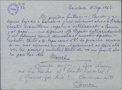 Carta de Marcos Redondo a Guillermo Fernández-Shaw, dando las gracias por el regalo que han hecho a su hija.