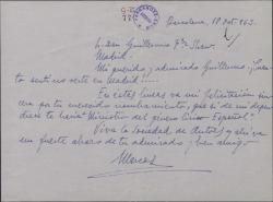 Carta de Marcos Redondo a Guillermo Fernández-Shaw, felicitándole por su nombramiento como Presidente de la Sociedad General de Autores de España.
