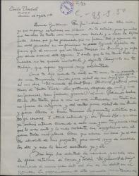 Carta de Emilio Vendrell a Guillermo Fernández-Shaw, relatándole detalladamente el debut de su hijo Emilio como cantante.
