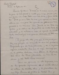 Carta de Emilio Vendrell a Guillermo Fernández-Shaw, lamentando el fallecimiento del maestro Jacinto Guerrero.
