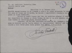 """Carta de Emilio Vendrell a Guillermo Fernández-Shaw, pidiendo permiso para representar en una gira """"El canastillo de fresas""""."""