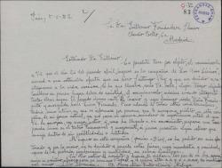 Carta de Elio Guzmán a Guillermo Fernández-Shaw, comunicándole su reincorporación a la vida escénica, a fin de que cuente con él para la próxima temporada lírica.