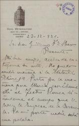 Carta de Marcos Redondo a Guillermo Fernández-Shaw, excusándose por no poder acudir a una cita.
