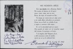 Tarjeta de Eduardo del Palacio Fontán a Guillermo Fernández-Shaw, expresando su pesar por no haber podido asistir al homenaje a su padre.
